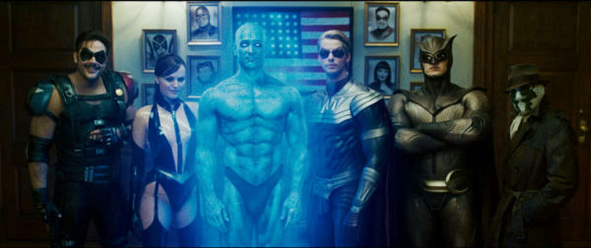 (L-r) JEFFREY DEAN MORGAN as Comedian, MALIN AKERMAN as Silk Spectre II, BILLY CRUDUP as Dr. Manhattan, MATTHEW GOODE as Ozymandias, PATRICK WILSON as Nite Owl II and JACKIE EARLE HALEY as Rorschach in Warner Bros. Picturesí and Paramount Picturesí ìWatchmen.