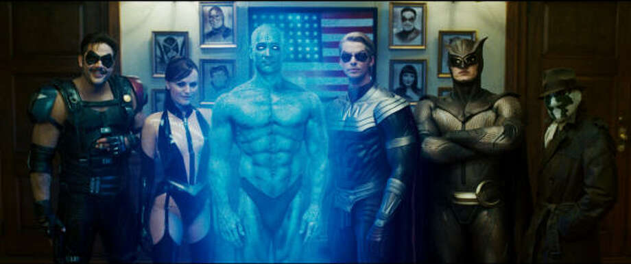 "(L-r) JEFFREY DEAN MORGAN as Comedian, MALIN AKERMAN as Silk Spectre II, BILLY CRUDUP as Dr. Manhattan, MATTHEW GOODE as Ozymandias, PATRICK WILSON as Nite Owl II and JACKIE EARLE HALEY as Rorschach in Warner Bros. Picturesí and Paramount Picturesí ìWatchmen."" PHOTOGRAPHS TO BE USED SOLELY FOR ADVERTISING, PROMOTION, PUBLICITY OR REVIEWS OF THIS SPECIFIC MOTION PICTURE AND TO REMAIN THE PROPERTY OF THE STUDIO. NOT FOR SALE OR REDISTRIBUTION. Photo: Photo Courtesy Of Warner Bros. P, Warner Bros. Pictures"