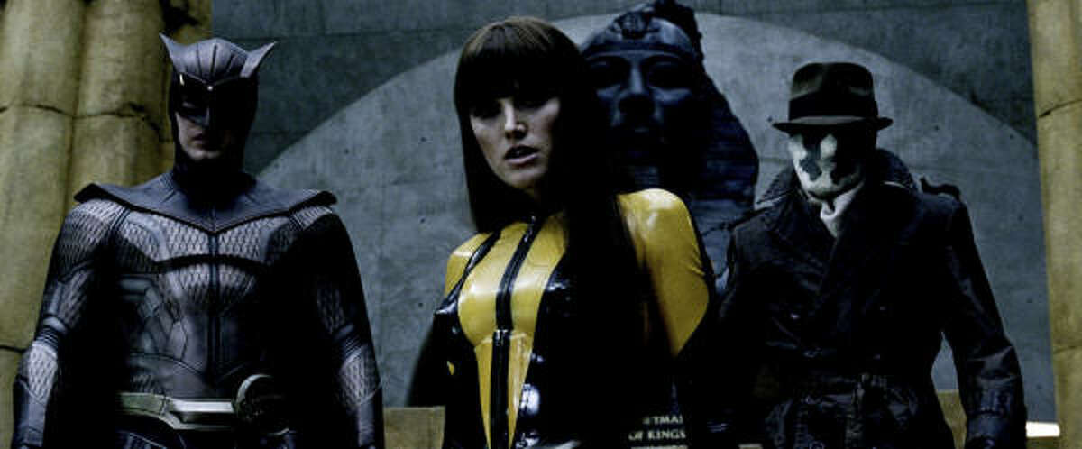 PATRICK WILSON as Nite Owl II, MALIN AKERMAN as Silk Spectre II and JACKIE EARLE HALEY as Rorschach in Warner Bros. Picturesí and Paramount Picturesí action/sci-fi ìWatchmen.î PHOTOGRAPHS TO BE USED SOLELY FOR ADVERTISING, PROMOTION, PUBLICITY OR REVIEWS OF THIS SPECIFIC MOTION PICTURE AND TO REMAIN THE PROPERTY OF THE STUDIO. NOT FOR SALE OR REDISTRIBUTION.