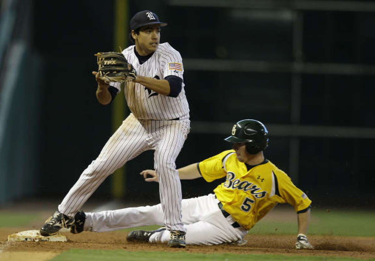 Rice third baseman Anthony Rendon gets the force out on Baylor's Landis Ware.