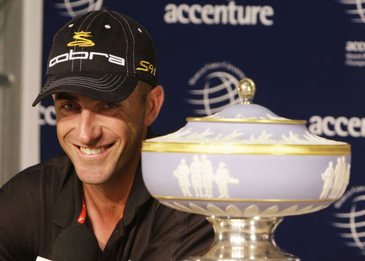 Geoff Ogilvy smiles as he talks about his victory over Paul Casey.