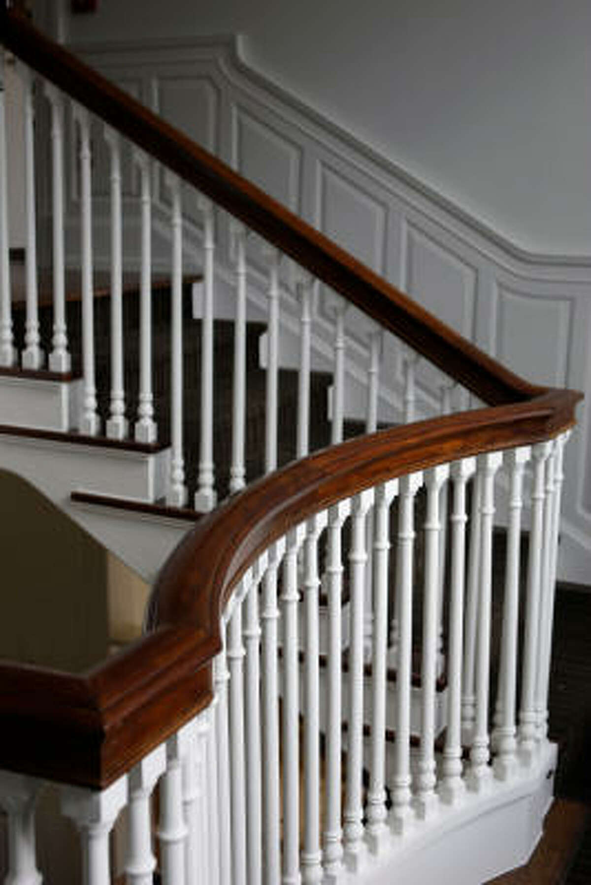 These original stairs lead to the second floor of the former home of William Clayton, now part of the Clayton Library Center for Genealogical Research.