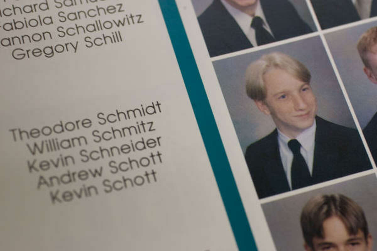 Klein High School 2000 yearbook photo of Theodore Schmidt. He had been in the offender database since at least May 2007 when he was arrested for driving with a suspended license, according to Harris County court records.