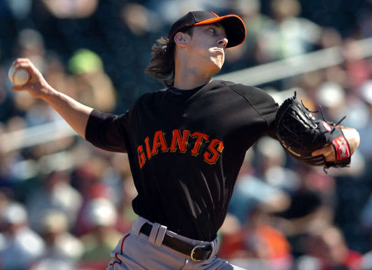 San Francisco Giants pitcher Tim Lincecum worked one scoreless inning against the Cleveland Indians during a Giants Cactus League spring training opener in Goodyear, Arizona. The Giants defeated the Indians, 10-7.