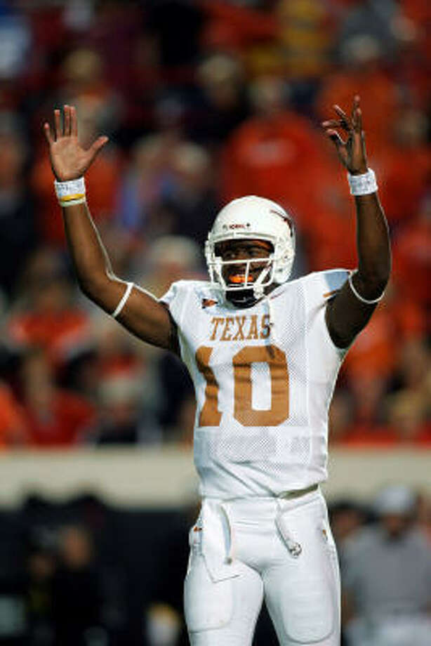 Vince Young, No. 10, football (2003-05): The Madison product led the Longhorns to the 2005 national championship while winning the Maxwell and Davey O'Brien awards. He finished as runner-up for the Heisman Trophy. Photo: Ronald Martinez, Getty Images