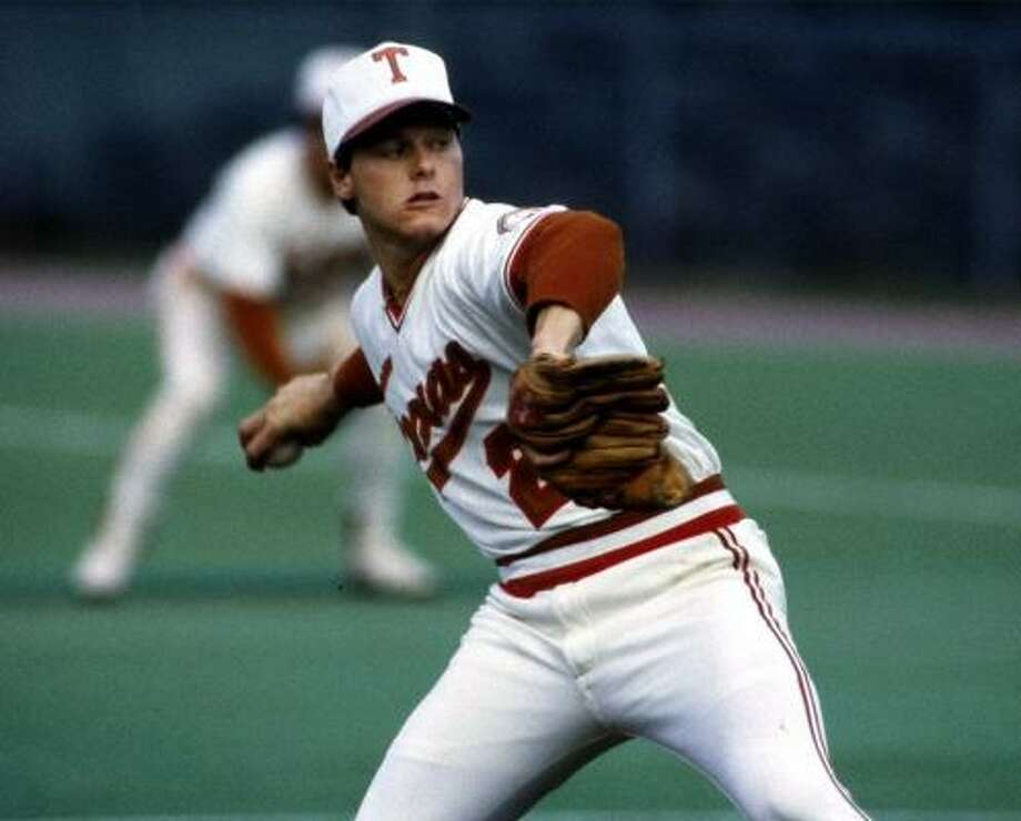 Roger Clemens, No. 21, baseball (1982-83):  A two-time All-American, Clemens was 25-7 and was on the mound when the Longhorns won the 1983 College World Series. Photo: DAVID KENNEDY, AP