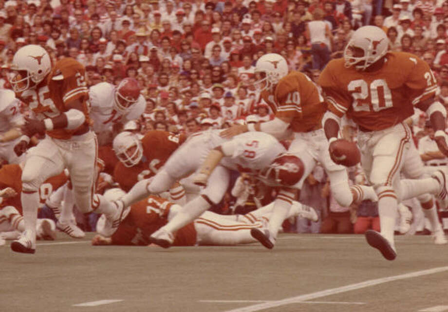 "Earl Campbell, No. 20, football (1974-77):  The ""Tyler Rose"" was a two-time All-American and winner of the 1977 Heisman Trophy. He finished his four-year UT career with 4,443 yards and 40 TDs. Photo: Tyler Courier-Times-Telegraph"