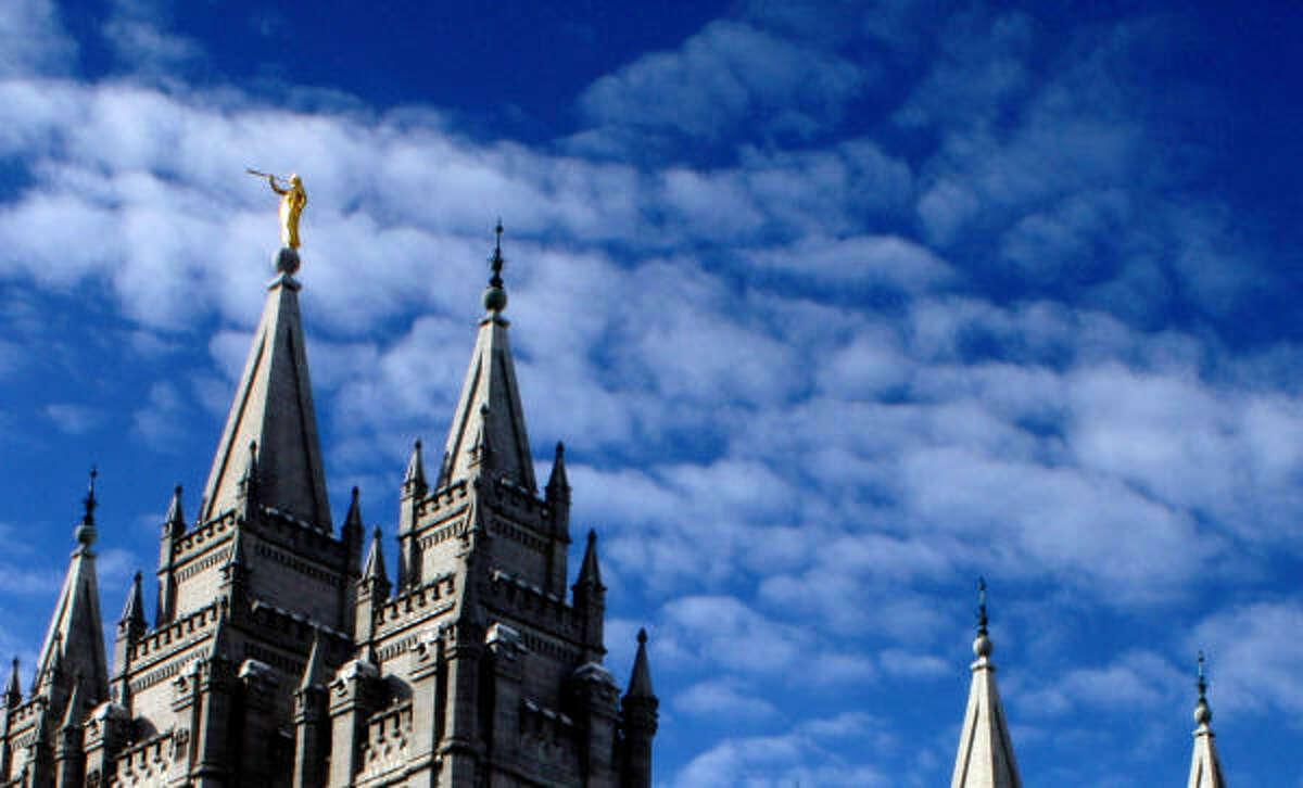 Salt Lake Temple looms over the city like Cinderella's castle.