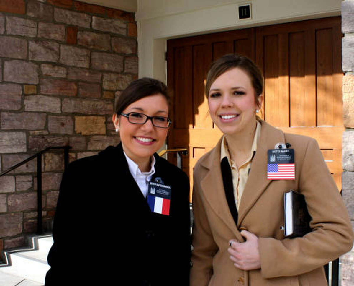 Sisters Karen McKay, 21, of California, and Claire Rafidiarimanda, 22, of France, have been chosen to serve their obligatory mission as guides at Temple Square.