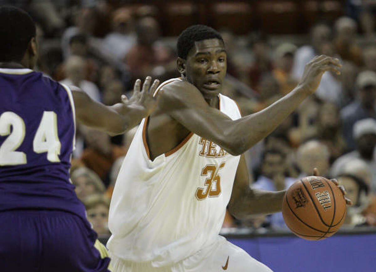 In his first collegiate game, Kevin Durant had 20 points in the Longhorns' 103-44 victory over Alcorn State.