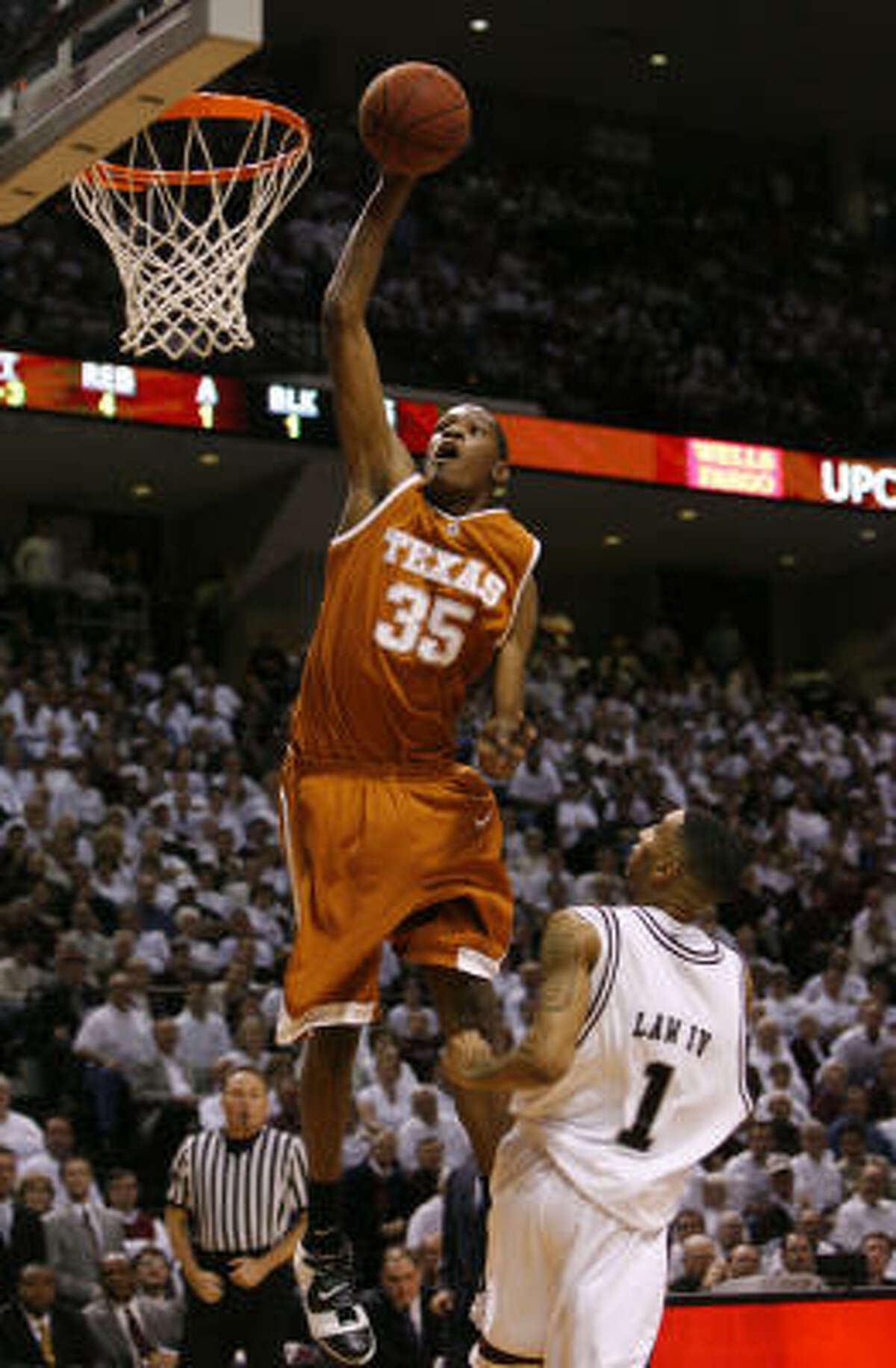 Kevin Durant dunks during the first half of the Longhorns' game against Texas A&M in College Station. The Longhorns lost 100-82.