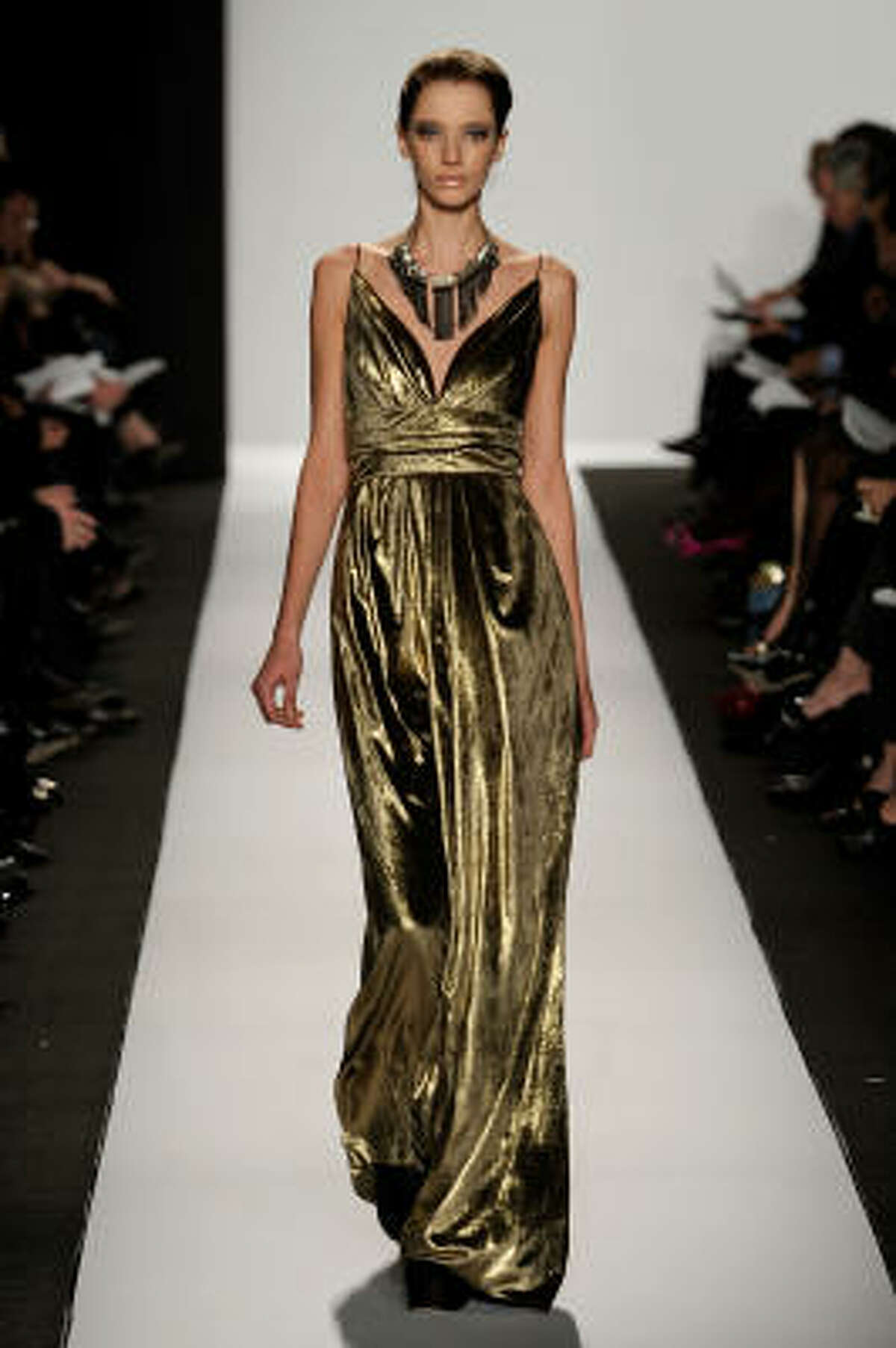 Badgley Mischka liquid gold evening gown.