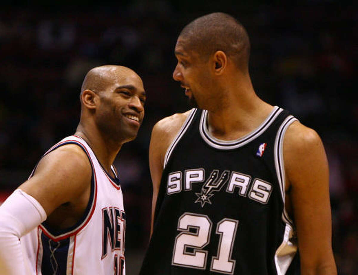 2 - SAN ANTONIO SPURS - (Last wk: 2) - 37-17 - They closed out a successful Eastern road trip with a stumble in Toronto. But Tim Duncan (21) and the Spurs are looking solid and confident and there's no reason to think they'll follow through on the rumors to break up the team to add Vince Carter, left, to the mix.