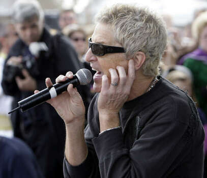 Kevin Cronin and REO Speedwagon perform for the crowd before the Krewe of Endymion parade in New Orleans on Saturday, Feb. 21, 2009. Photo: Alex Brandon, AP