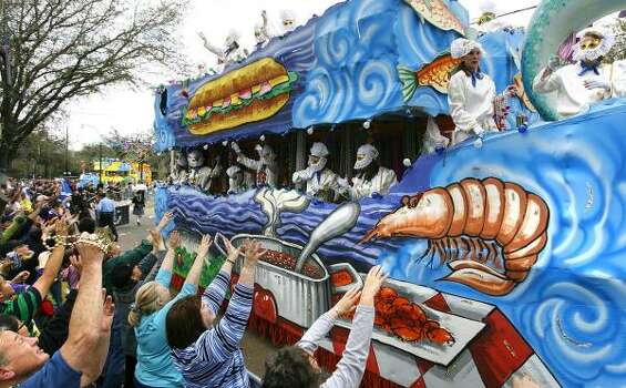 An Iris float titled Louisiana Cuisine rolls down St. Charles Avenue on Saturday, Feb. 21, 2009, in New Orleans. Photo: CHRIS GRANGER, The Times-Picayune