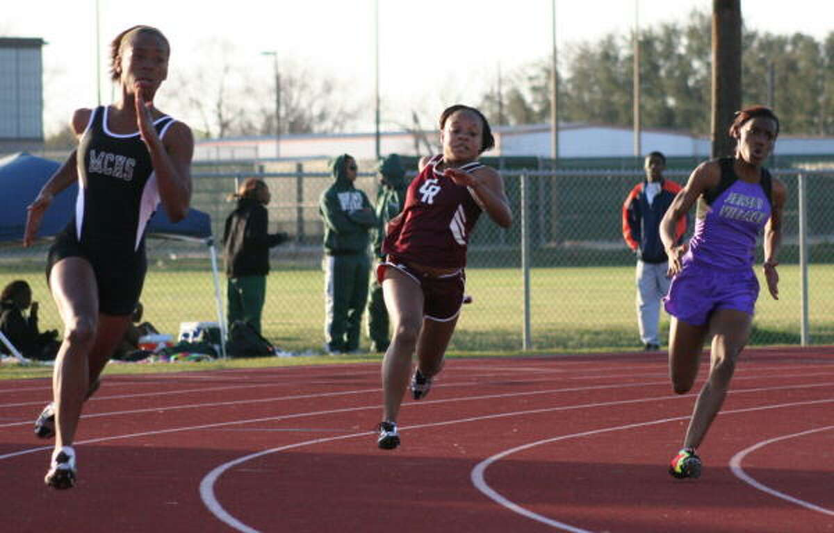 (From left) It's runners from Mayde Creek, Cinco Ranch and Jersey Village in the 200-meter dash.
