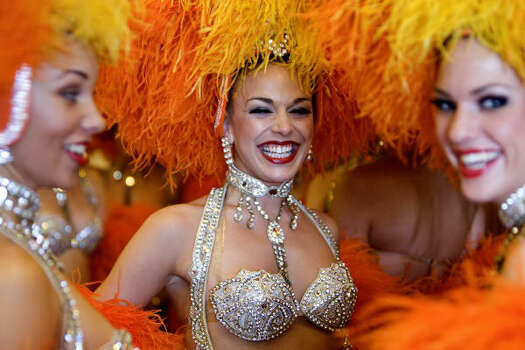 France's Moulin Rouge dancers pose after a press conference on Feb. 20, 2009, in Rio de Janeiro, Brazil. Photo: ANTONIO SCORZA, AFP/Getty Images
