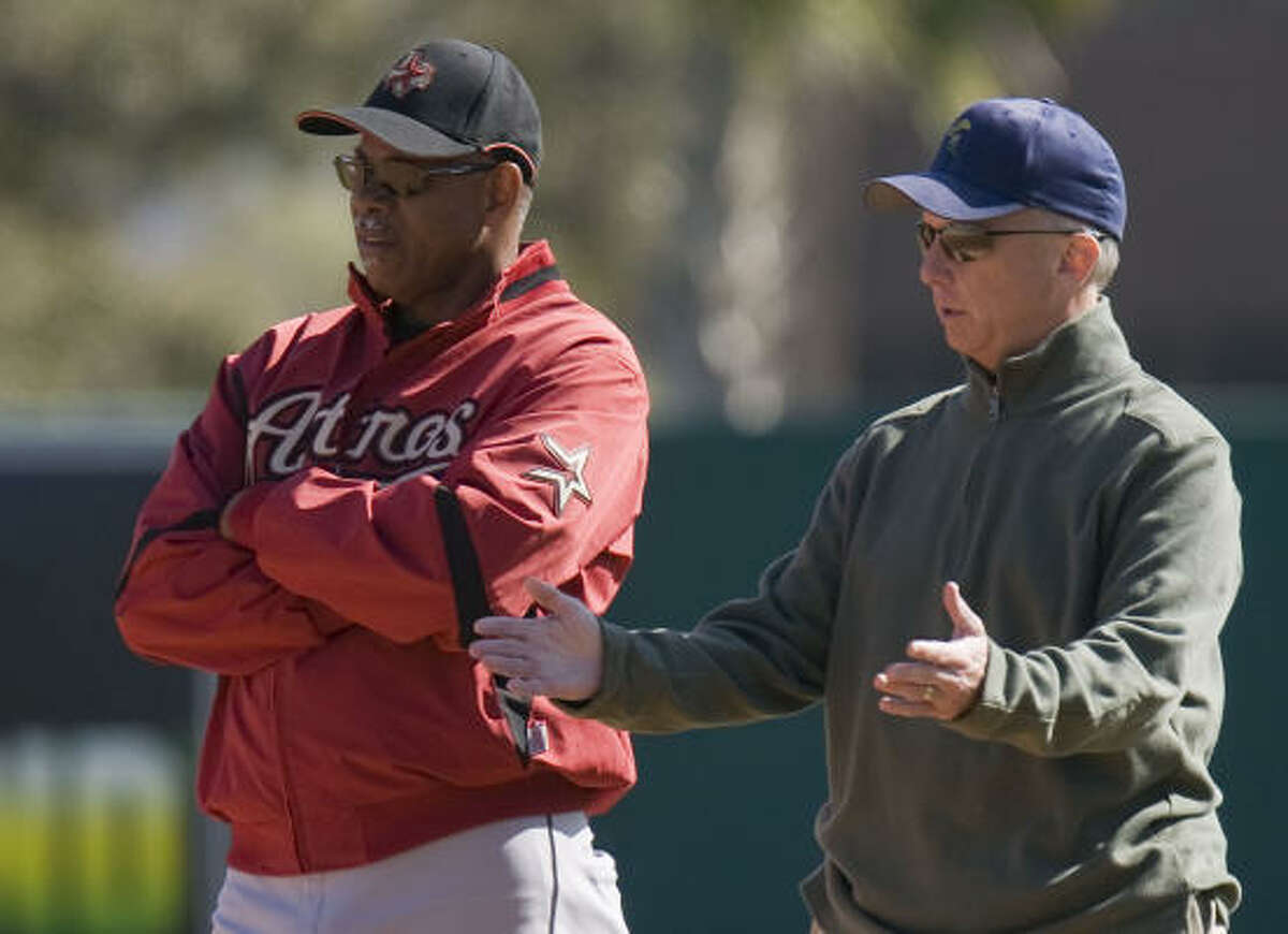 Astros manager Cecil Cooper (left) and general manager Ed Wade (right) during the Houston Astros spring training.
