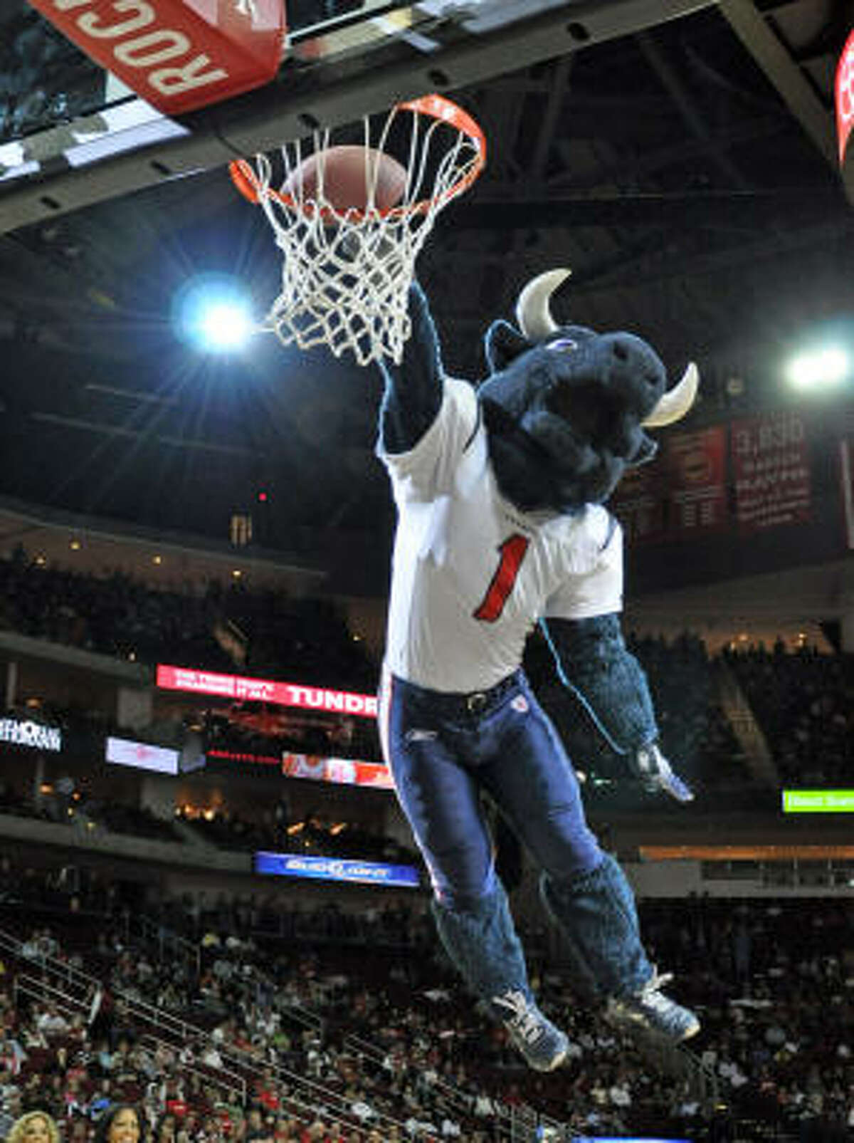 The Texans were represented as well. Here, mascot Toro dunks a football.