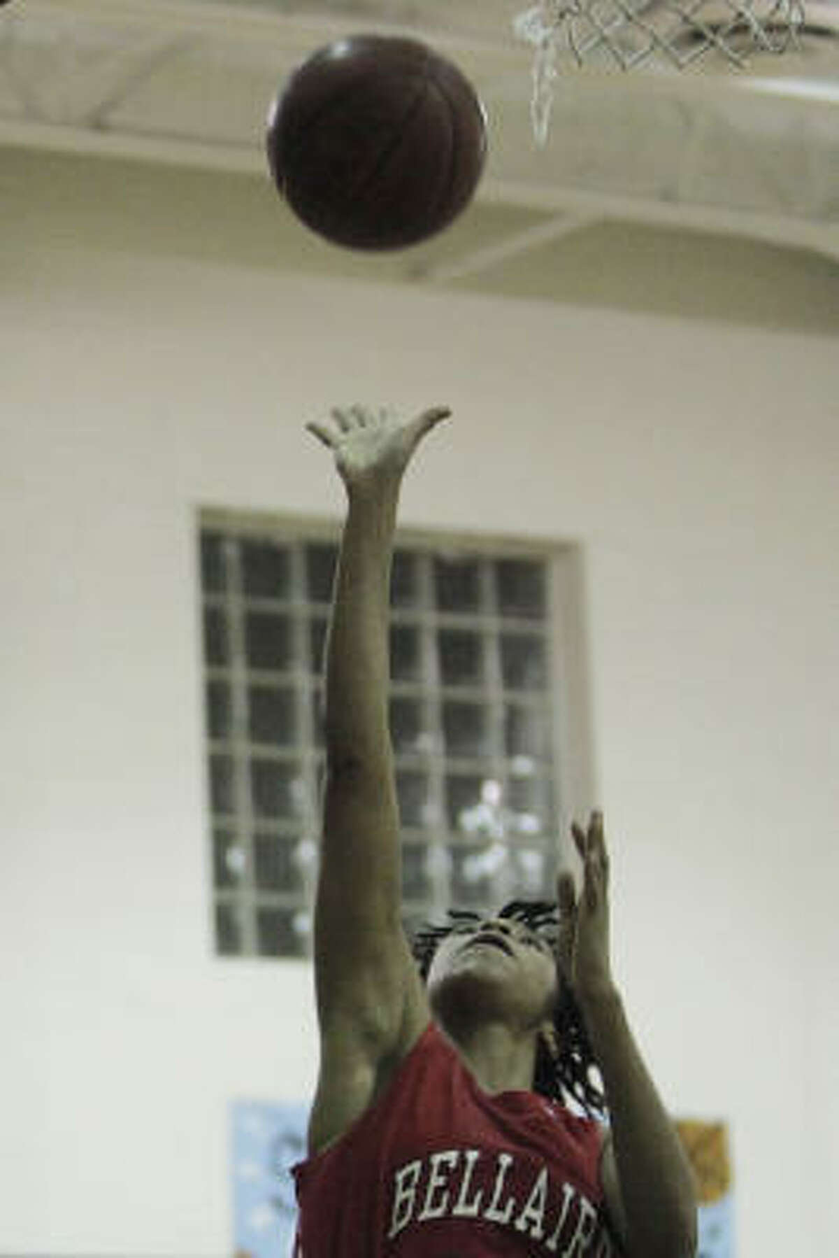 Bellaire senior Taylor McGibra puts up a shot during the game at Stratford High School.