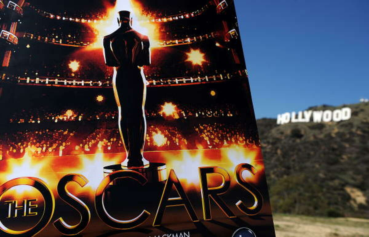 A poster for the 81st Annual Academy Awards takes its place of honor with the Hollywood sign in the background.