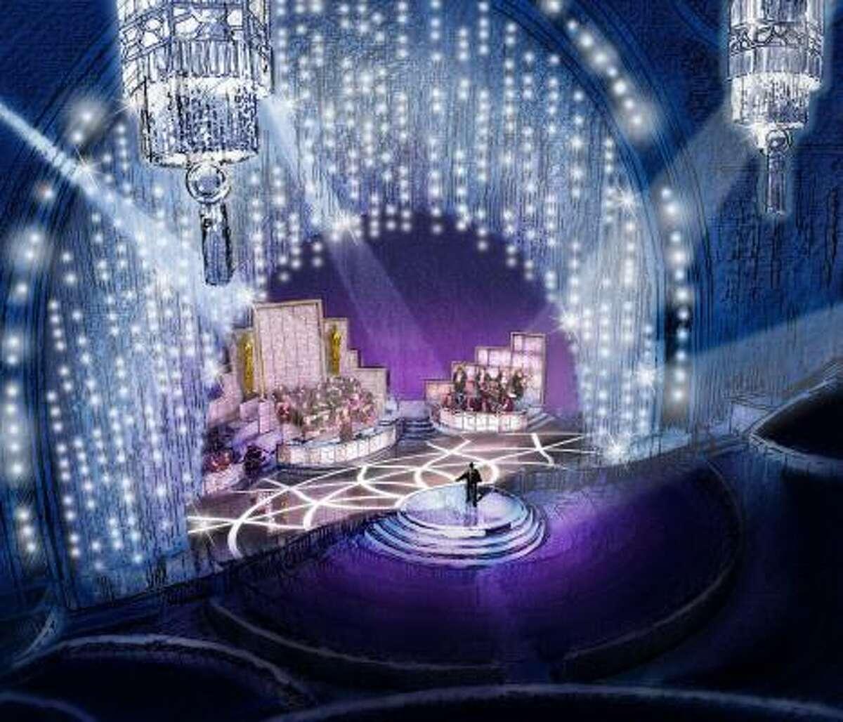The 81st Annual Academy Awards set features a Swarovski crystal curtain.