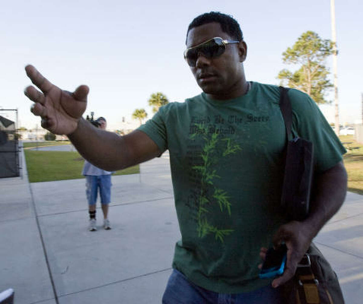 Shortstop Miguel Tejada arrives for the Astros spring training at Osceola County Stadium Tuesday.