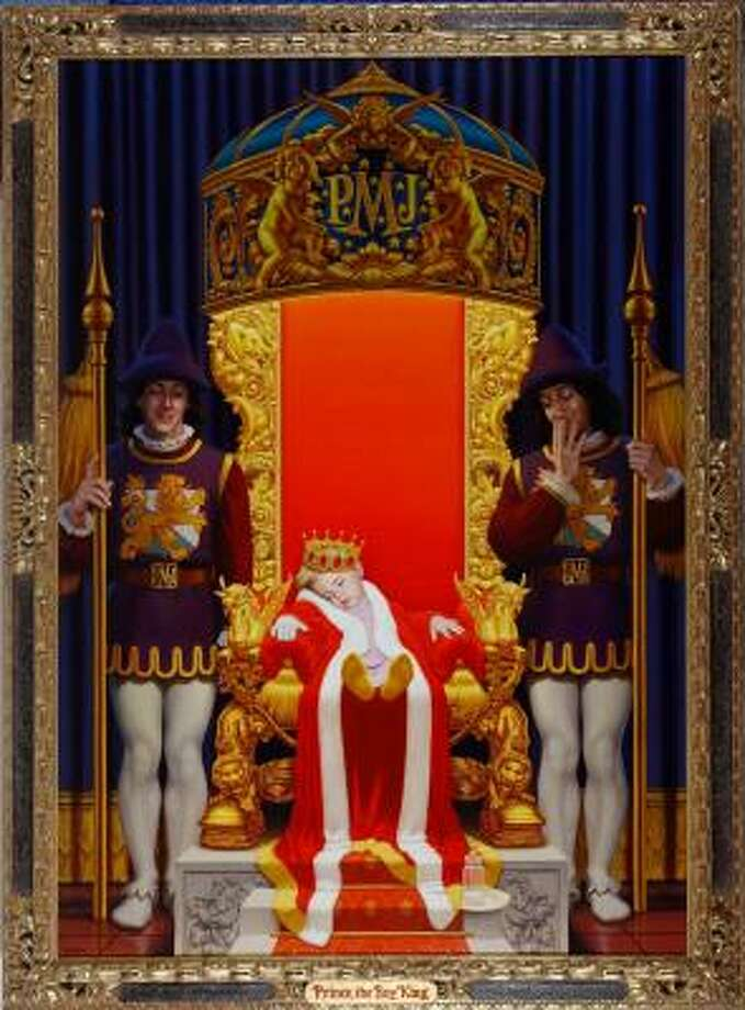"Oil on linen:""Prince, The Boy King"", depicting a sleeping Prince Michael on a throne with attendants, signed David NordahlAuction Estimate: $3,000 - $5,000 Photo: Shaan Kokin, AP"