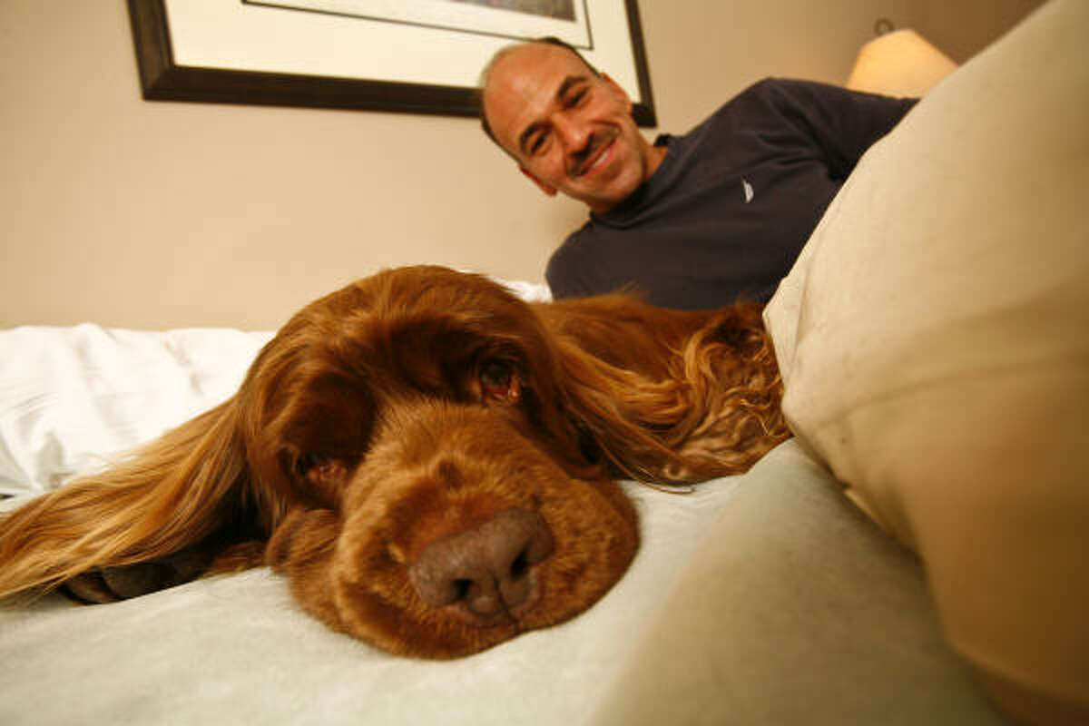 Scott Sommer, Stump's trainer and best friend, poses with the 10-year-old Sussex Spaniel who won the 2009 Westminster Dog Show.