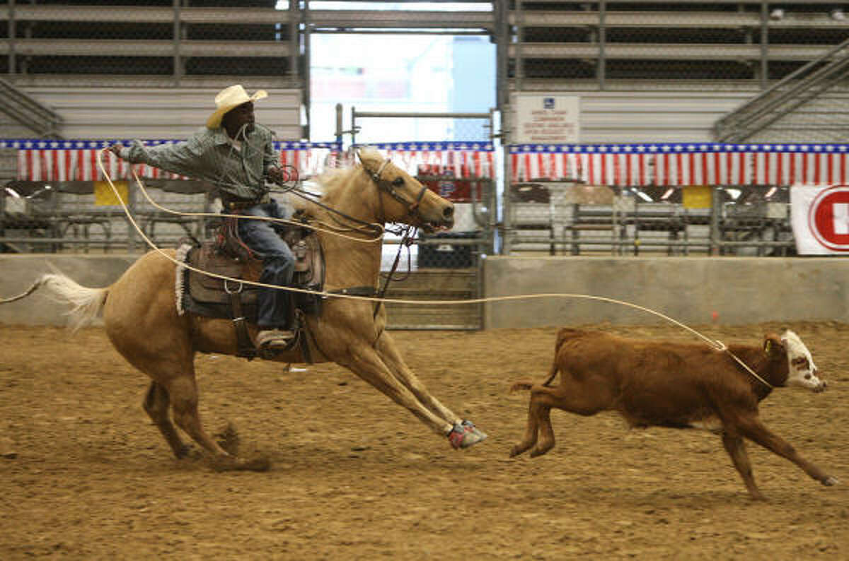 Kadrion Richard of Dallas competes in a roping competition at the 10th Annual H-E-B Heritage Day event hosted by Black Professional Cowboys & Cowgirls Association (BPCCA) at the Humble Civic Arena on Feb. 14.