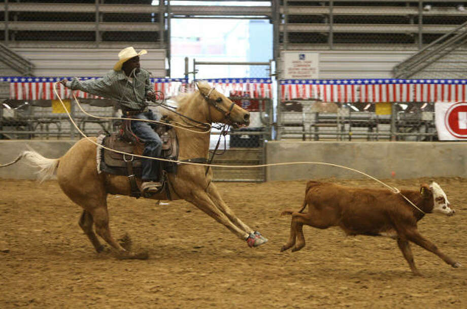 Kadrion Richard of Dallas competes in a roping competition at the 10th Annual H-E-B Heritage Day event hosted by Black Professional Cowboys & Cowgirls Association (BPCCA) at the Humble Civic Arena on Feb. 14. Photo: Thomas Nguyen, For The Chronicle