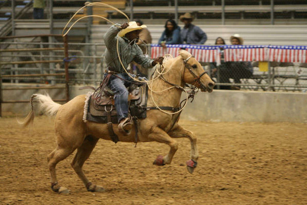 Kadrion Richard of Dallas competes in a roping competition.