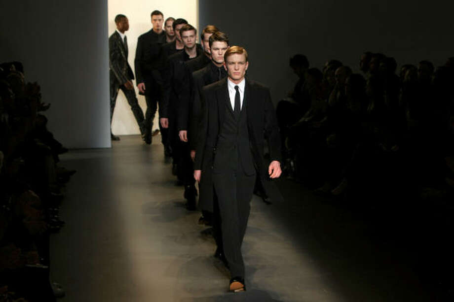 Models walk the runway at the Calvin Klein Menswear Fall 2009 fashion show Photo: Kristian Dowling, Getty Images For IMG