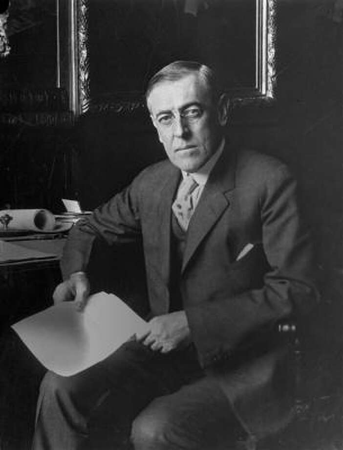 "Woodrow Wilson used the same Bible for both inaugurations. in 1917, it was open to Psalm 46. In 1913, it was open to Psalm 119:43-46. The first verse of Psalm 46: ""God is our refuge and strength, and ever-present help in trouble. Therefore we will not fear, though the earth give way and the mountains fall into the heart of the sea, though its waters roar and foam and the mountains quake with their surging.""Psalm 119:43-46""Never take your word of truth from my mouth, for I have put my hope in your laws. I will always obey your law, for ever and ever. I will walk about in freedom, for I have sought out your precepts. I will speak of your statues before kings and will not be put to shame,"" Photo: AP"