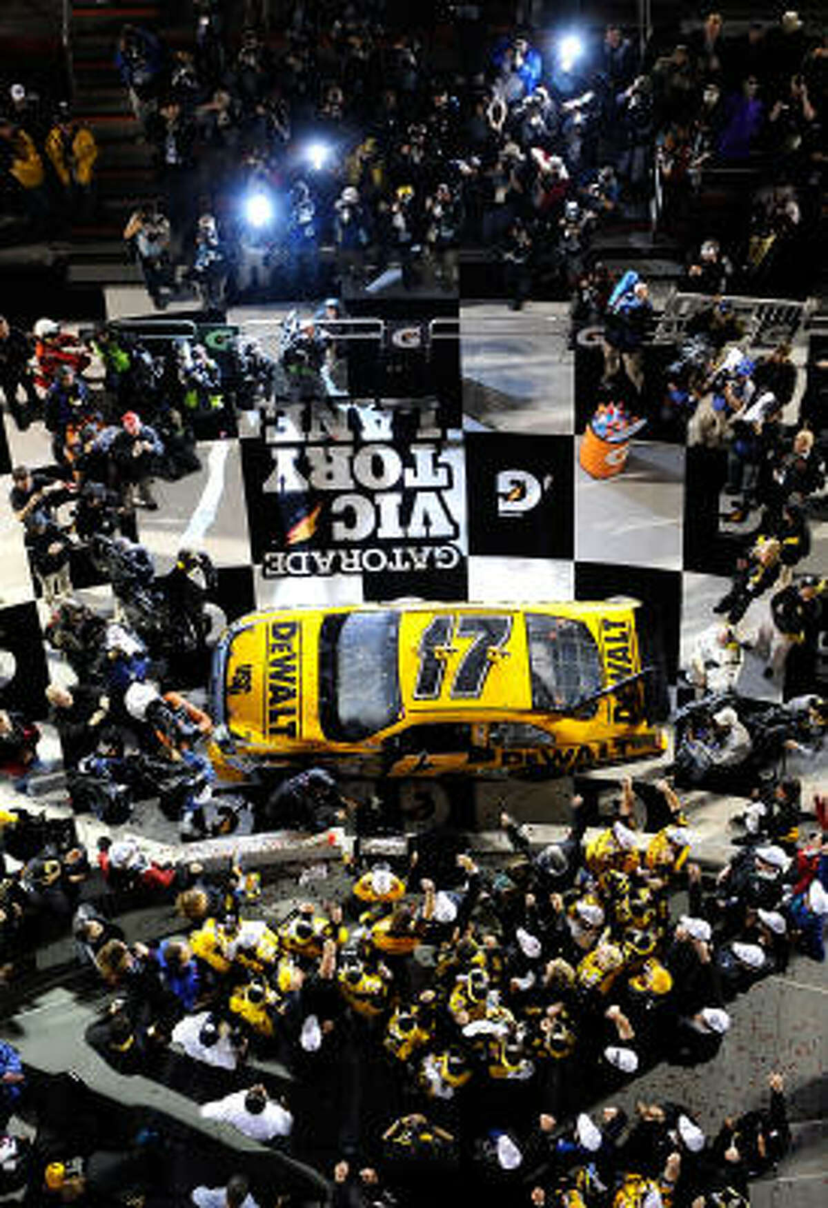 Matt Kenseth parks in Victory Lane after winning the Daytona 500.