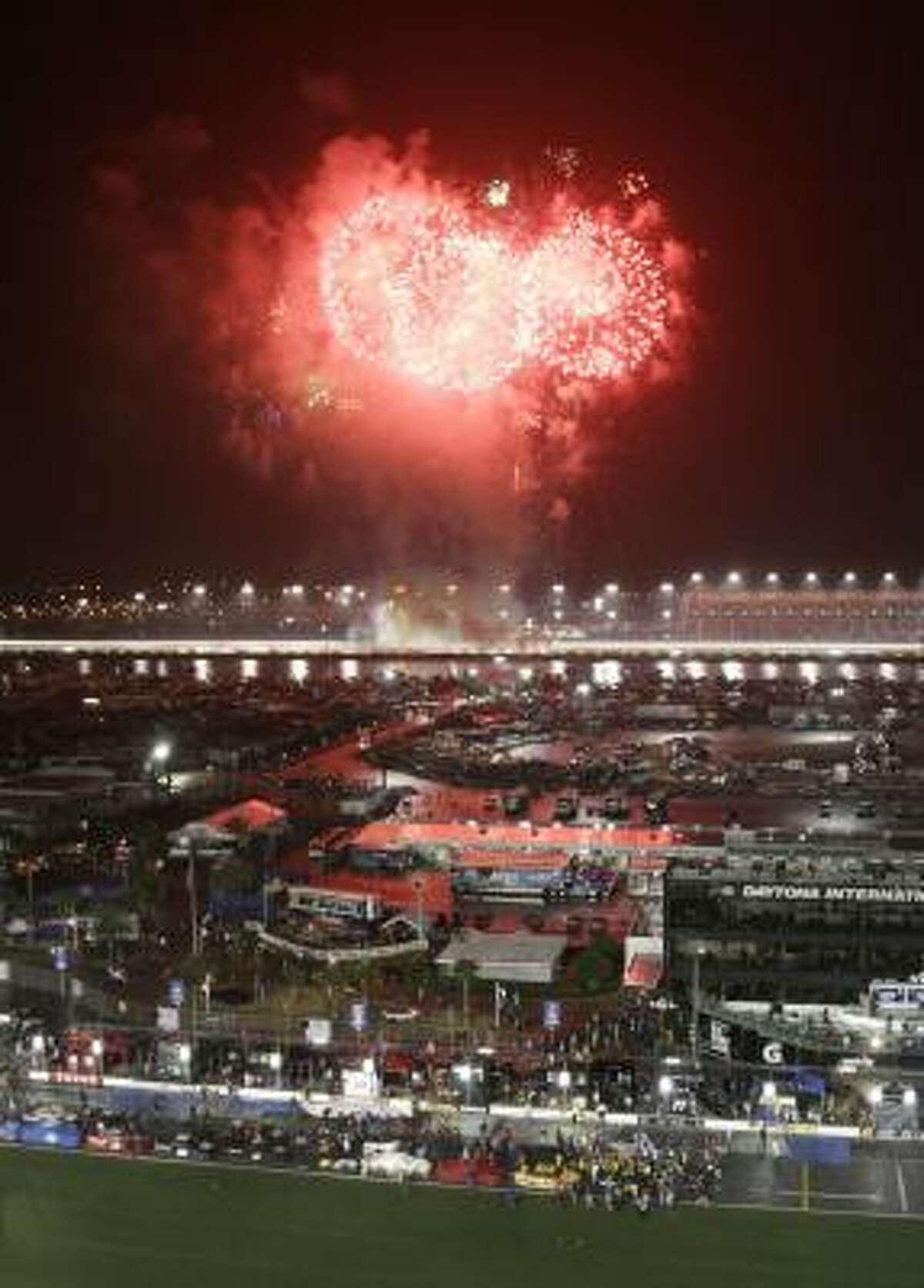Fireworks light up the sky after Matt Kenseth's win.