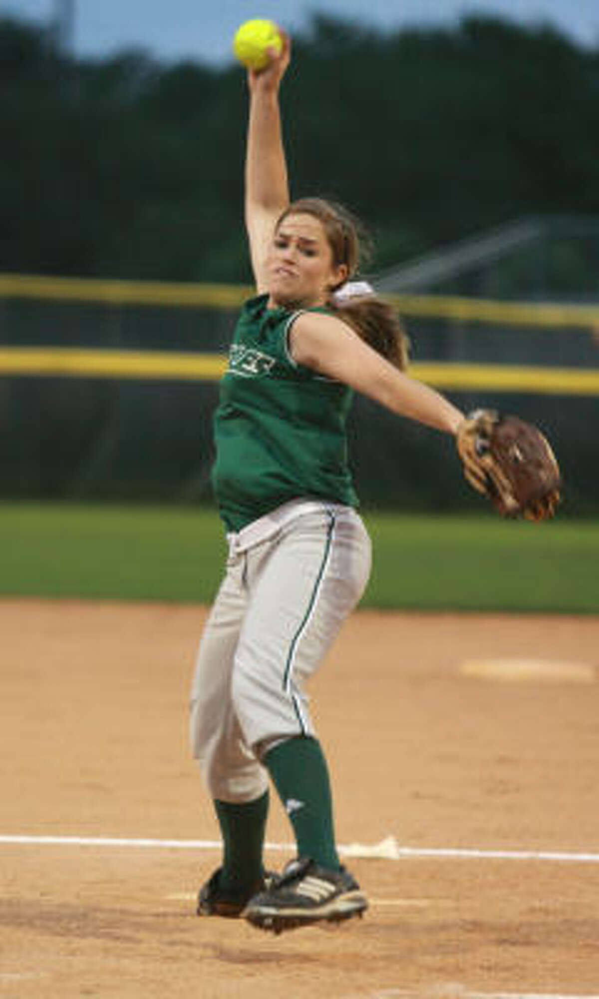 Rachel Fox , Pitcher, Junior Fort Bend Baptist Fox, who committed to the Texas Longhorns as a sophomore, was 28-1 last year to lead the Eagles to the TAPPS state title game. She had 354 strikeouts in 175 innings.