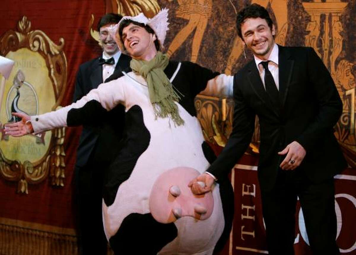 James Franco milks a cow for laughs. He won an award that previously has gone to Alan Alda and Robert Downey Jr. Bob Hope was the first men's winner 42 years ago.