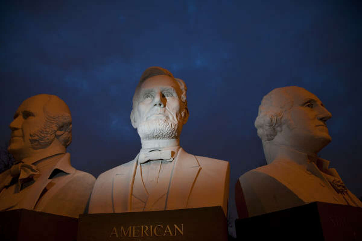David Adickes' bust of President Abraham Lincoln.