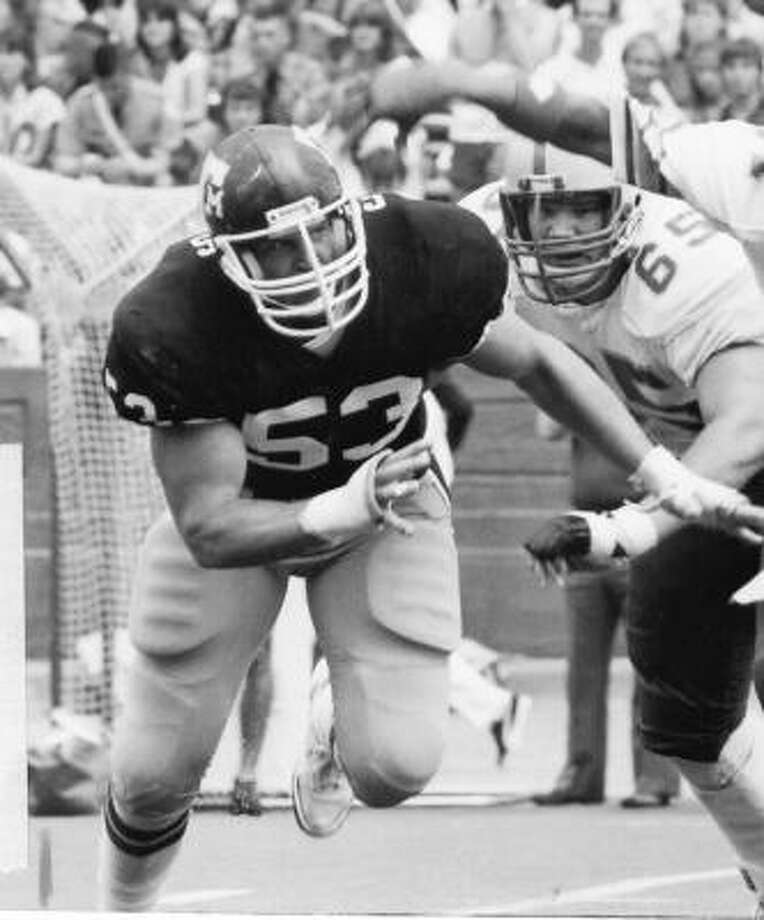 Ray Childress,defensive tackle. Era: (1981-84).  The case for:  Childress anchored the 1984 A&M defense that ranked fifth nationally against the pass, recording 124 tackles and 10 sacks his senior season. Photo: Texas A&M University Photography Department