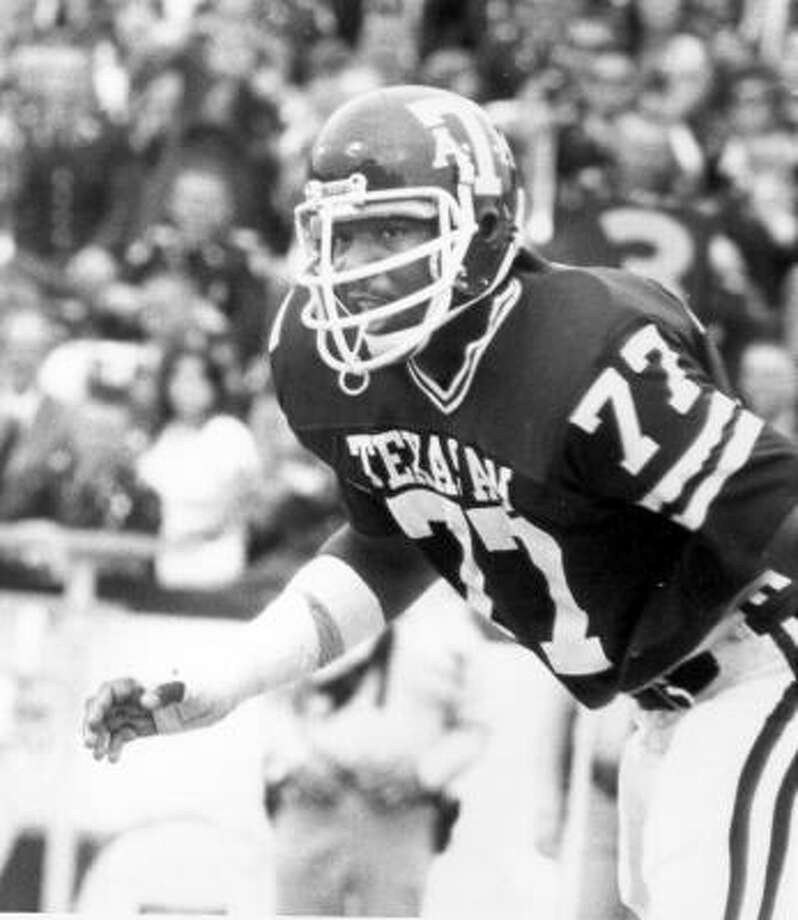 Jacob Green, defensive lineman. Era: (1977-79). The care for: A All-SWC Decade member for the 70s. A menacing defensive end, whose 20 sacks in 1979 is a single season record and his 37 career sacks was long a standard. Photo: Texas A&M University Photography Department