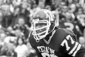 Jacob Green,  defensive lineman.  Era:  (1977-79).  The care for:  A All-SWC Decade member for the 70s. A menacing defensive end, whose 20 sacks in 1979 is a single season record and his 37 career sacks was long a standard.