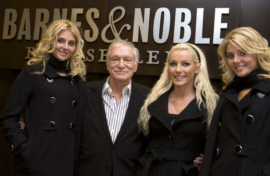 Some of Hugh Hefner's lady friends included Karissa Shannon, left, her twin Kristina, right and Crystal Harris, second from right.Hefner and Harris were headed to the alter, then broke off the engagement in 2011. The couple decided to have another go at it and married in December 2012.  Photo: Byron Gamarro, Getty Images