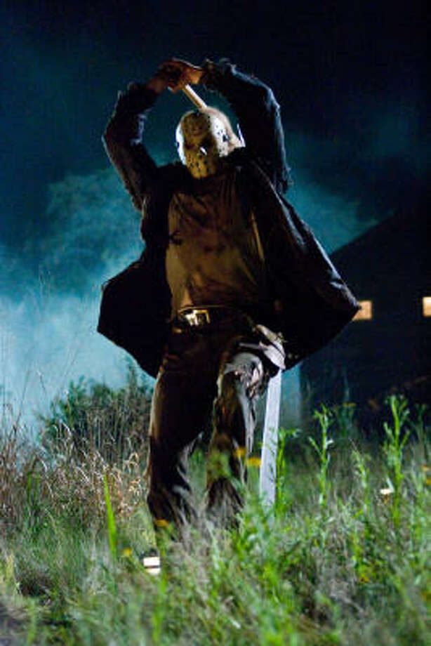 """The mask and machete used by Derek Mears as Jason Voorhees in """"Friday the 13th."""" Above, a still from the film. Photo: John P. Johnson"""