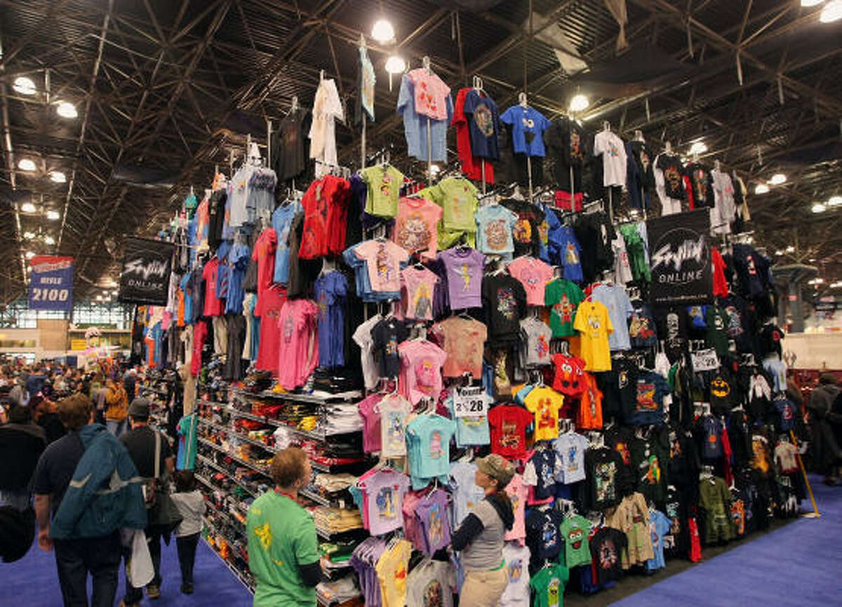 A soaring T-shirt stand at the first day of the 2009 New York Comic Con at the Jacob Javits Center on Saturday, Feb. 6, 2009, in New York City.