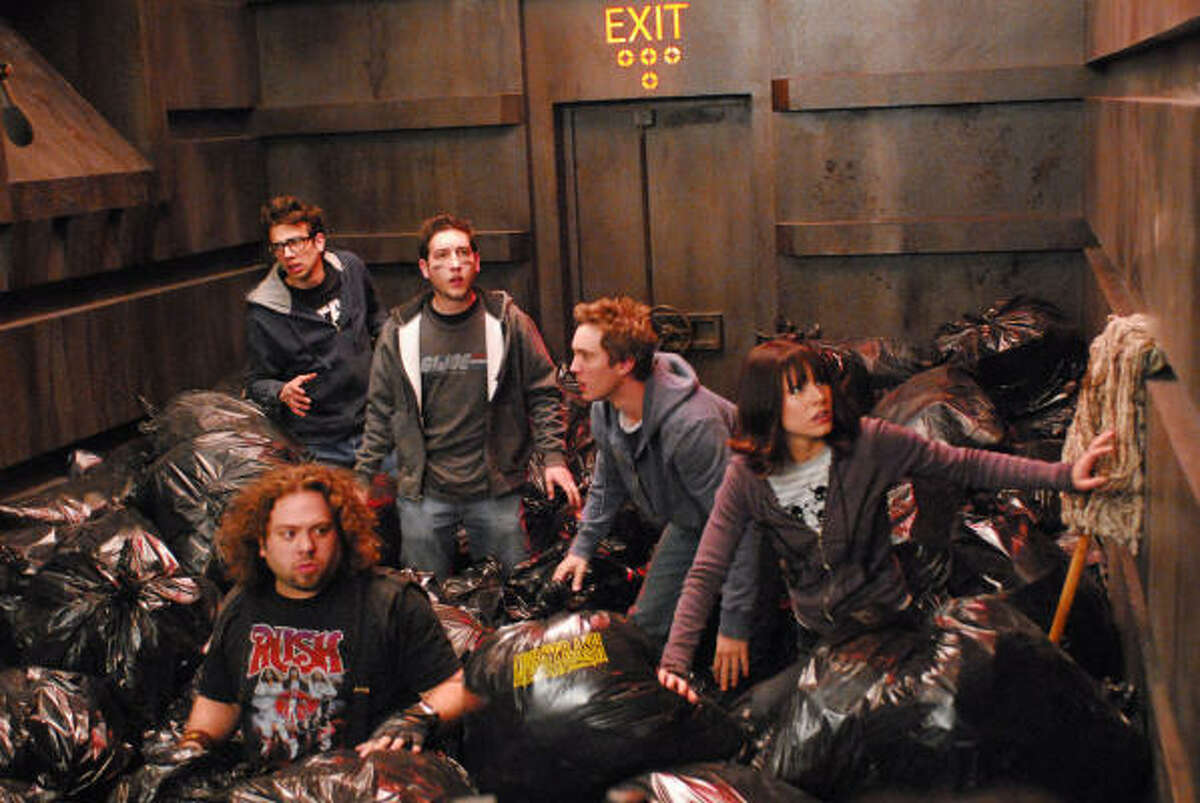 Jay Baruchel, Dan Fogler, Chris Marquette, Sam Huntington and Kristen Bell are shown in a scene from Fanboys.