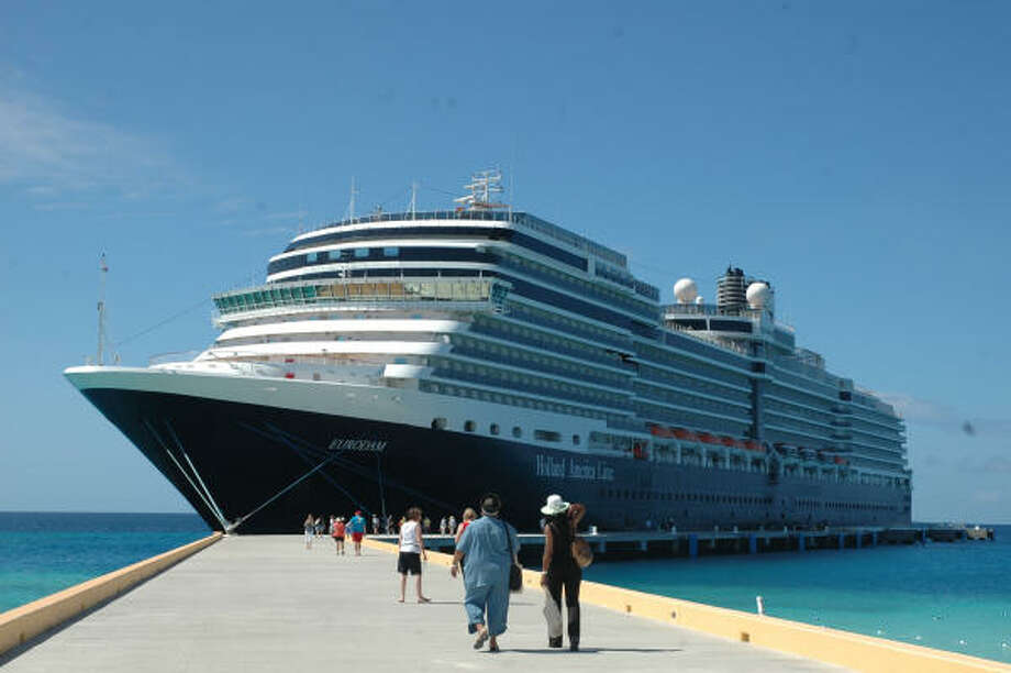 Holland America's new ship, the Eurodam, docks at Grand Turk Island in the Caribbean. Photo: HARRY SHATTUCK, Chronicle