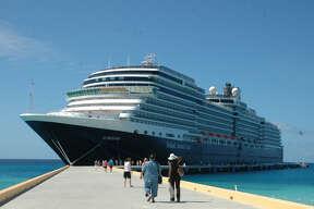 Holland America's new ship, the Eurodam, docks at Grand Turk Island in the Caribbean.