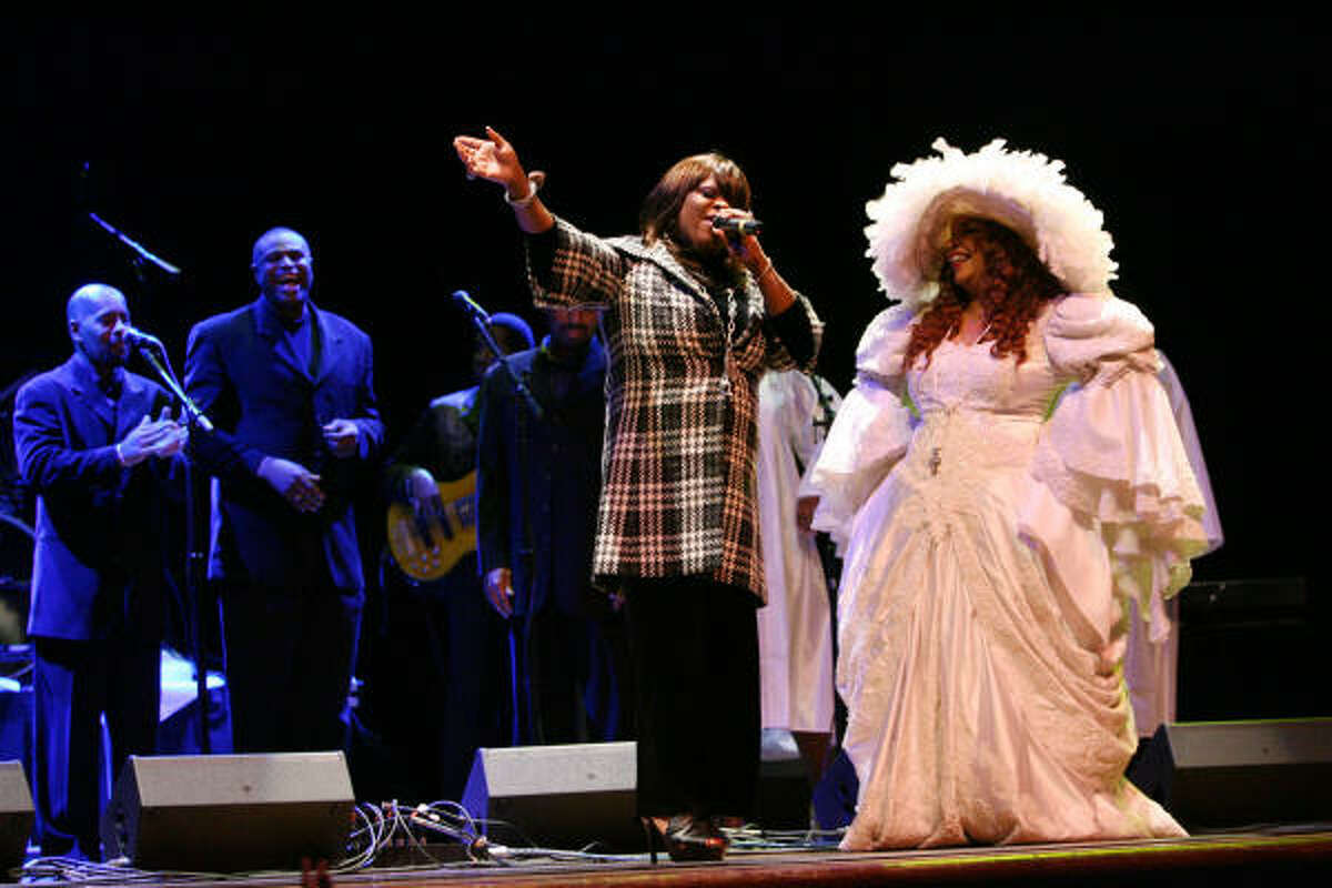 Paulette Wright, of New Orleans, sings next to Ms. Sylvia St. James, House of Blues Queen, during the House of Blues Gospel Brunch. Paulette Wright is the new hostess for the Houston House of Blues Gospel Brunch.