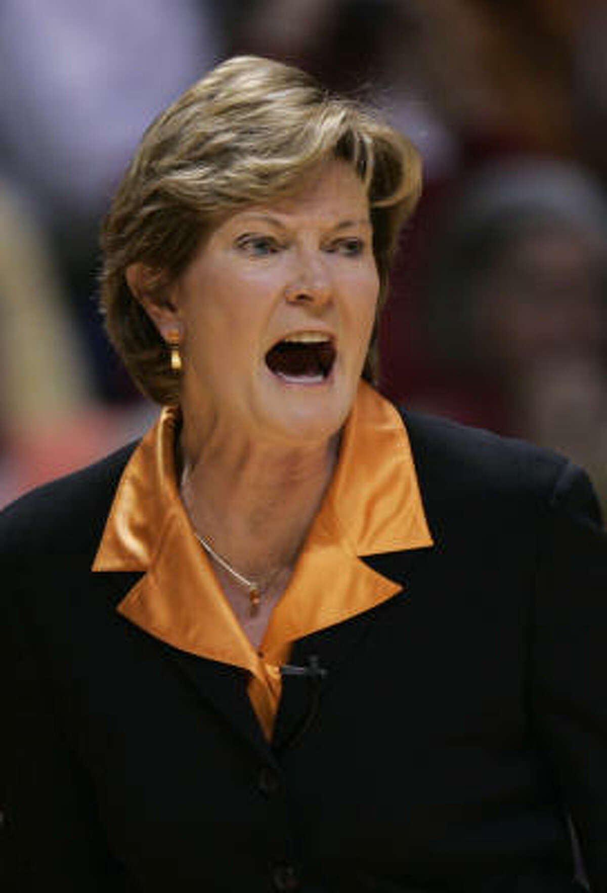 Tennessee coach Pat Summitt yells to her team during the first half.